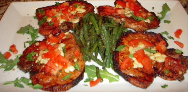 Grilled Pork Chops W/Gorgonzola and Tomatoes