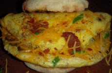 Bacon Ham and Chive Omelet Sandwich