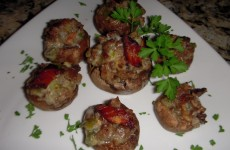 Bacon Sausage Jalapeno Popper Stuffed Mushrooms